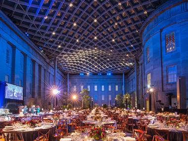 Kogod Courtyard with table settings