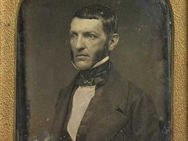 Photograph portrait of George Bancroft in gold frame