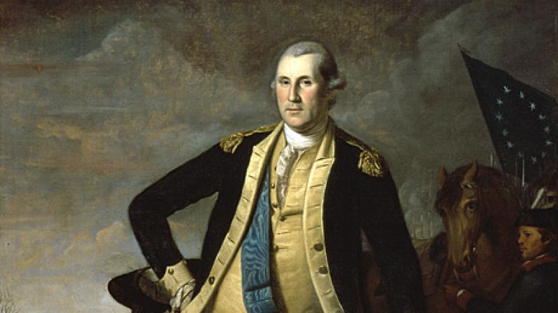 full length painting of a man in a Revolutionary uniform leaning on a cannon