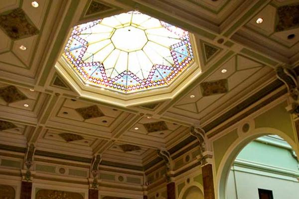 Stained glass skylight in the museum's Great Gall