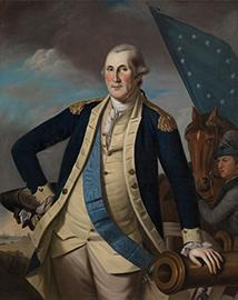portrait of George Washington in military uniform leaning on a canon
