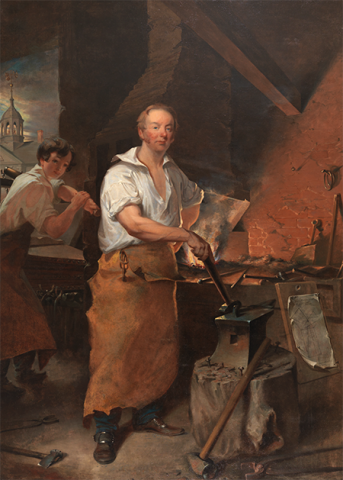 Early painting of a man at a forge (blacksmithing)