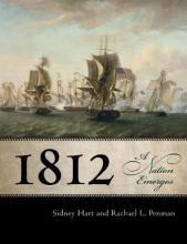 "Book cover with painting of war ships, and the text ""1812"" in large font"