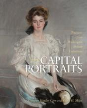 "Book cover of ""Capital Portraits"" with painted portrait of woman in a white blouse, sitting"