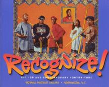 "Book cover showing painted group portrait of hip hop artists with the words ""RECOGNIZE!"" in big. graffiti-like letters"