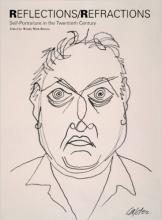 """Book cover for """"Reflections/Refractions"""" with pencil or pen drawing of a man's face"""