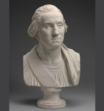 plaster bust of a man with a queue dressed in robes