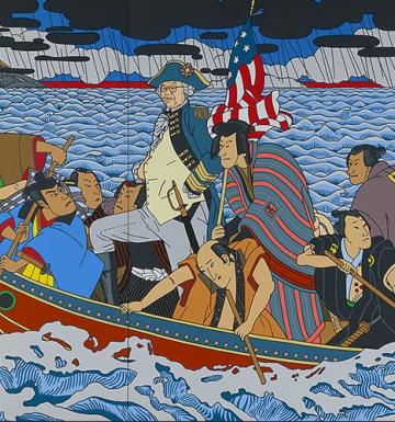 Colorful image of Japanese men dressed as Washington Crossing the Delaware