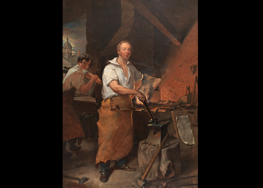 Ninteenth century man in a long apron standing at a forge