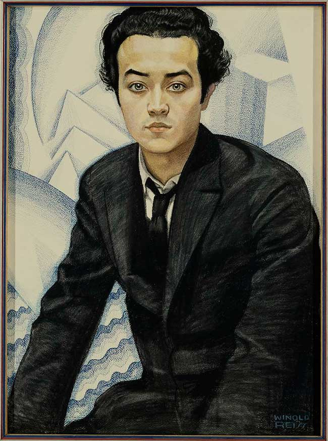 Painted portrait of Isamu Noguchi, in loose black suit and tie and looking straight at viewer