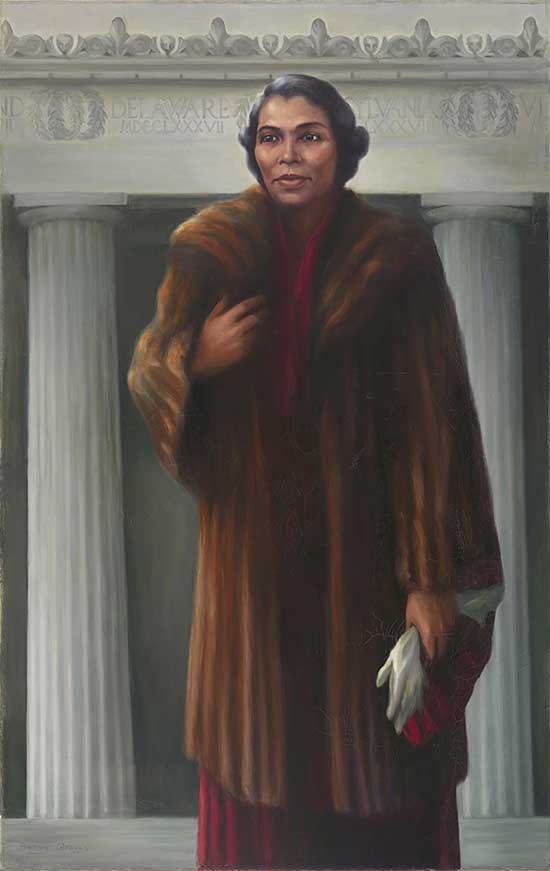 Painted portrait of Marian Anderson signing in front of columns of the Lincoln Memorial.  She wears a brown fur coat, with right hand near heart and left hand by side, holding a white glove