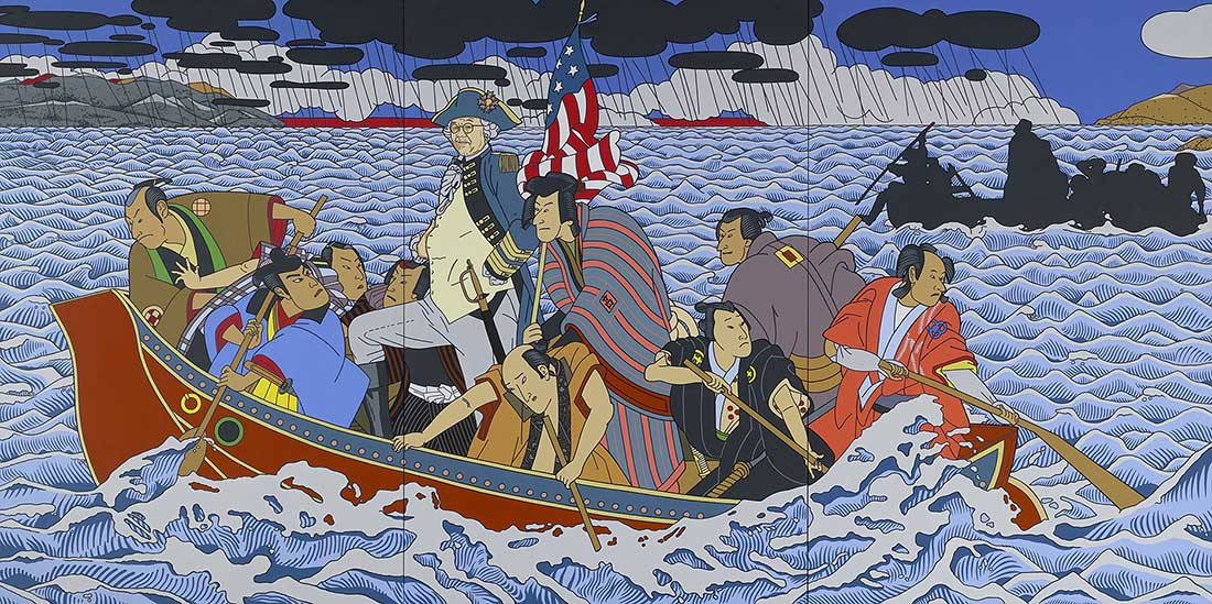 Color painting, of asian man (Shimomora) dressed as George Washington and in boat with other men, crossing the Delaware.  Painting done in a Japanese style.