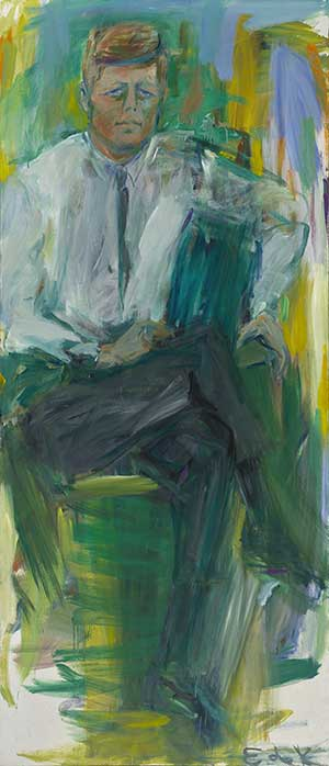 Abstract painted portrait of John F. Kennedy.  He is seated with white shirt and tie.  Patches of greens, yellows, and greys in the background