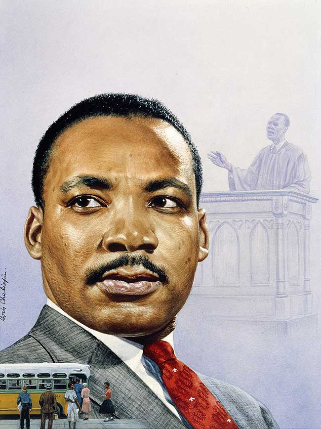 Painted portrait of Martin Luther King, image of a bus boycott in lower left. In upper right, a black-and-white sketch of a figure in ministerial robes delivering an address from pulpit