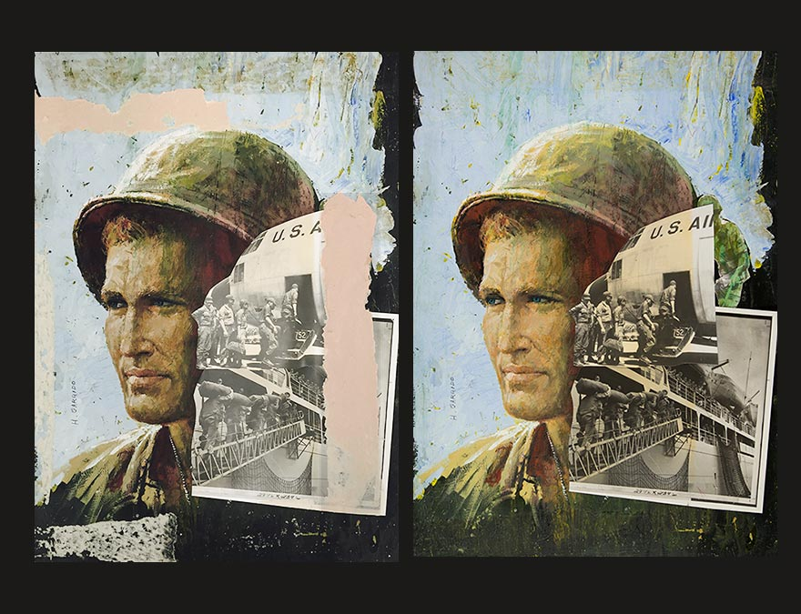 Before and after views of a painting of a soldier