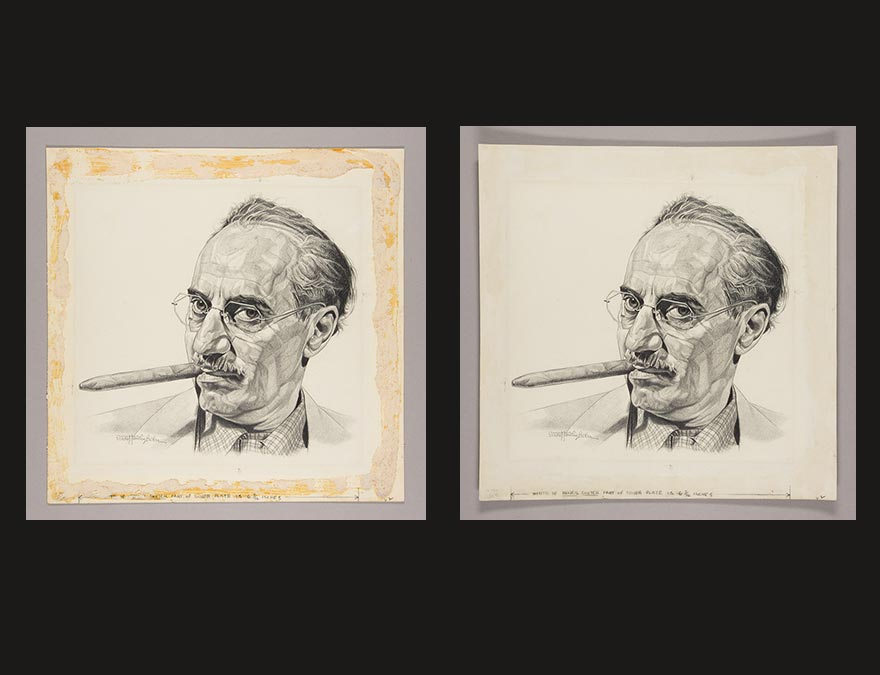 Two portraits of a moustached man with a cigar