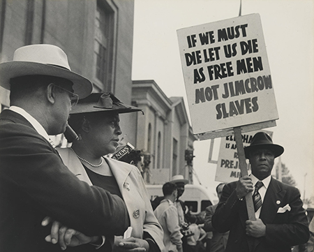 black and white photo of a civil rights protest