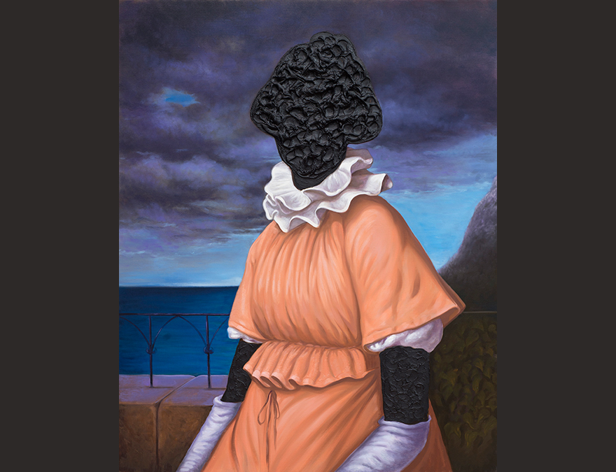 Woman in colonial dress with a blacked-out face
