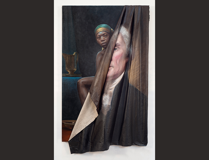 Portrait of Thomas Jefferson with the canvas peeled away to reveal a black woman (Saly Hemings)