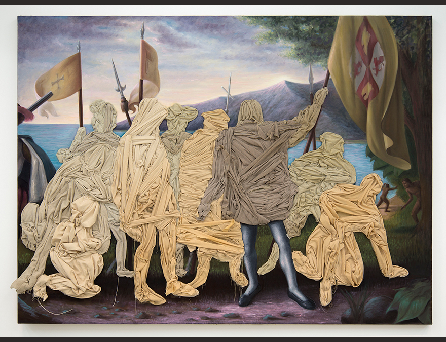 Mummified colonial figures in a landsccape