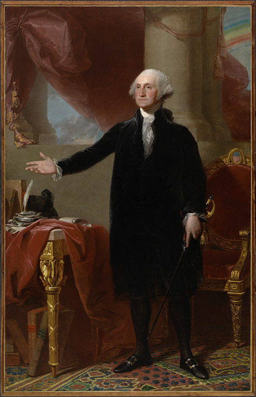 18th century full length portrait of a man in a black suit and leggings with a powdered wig