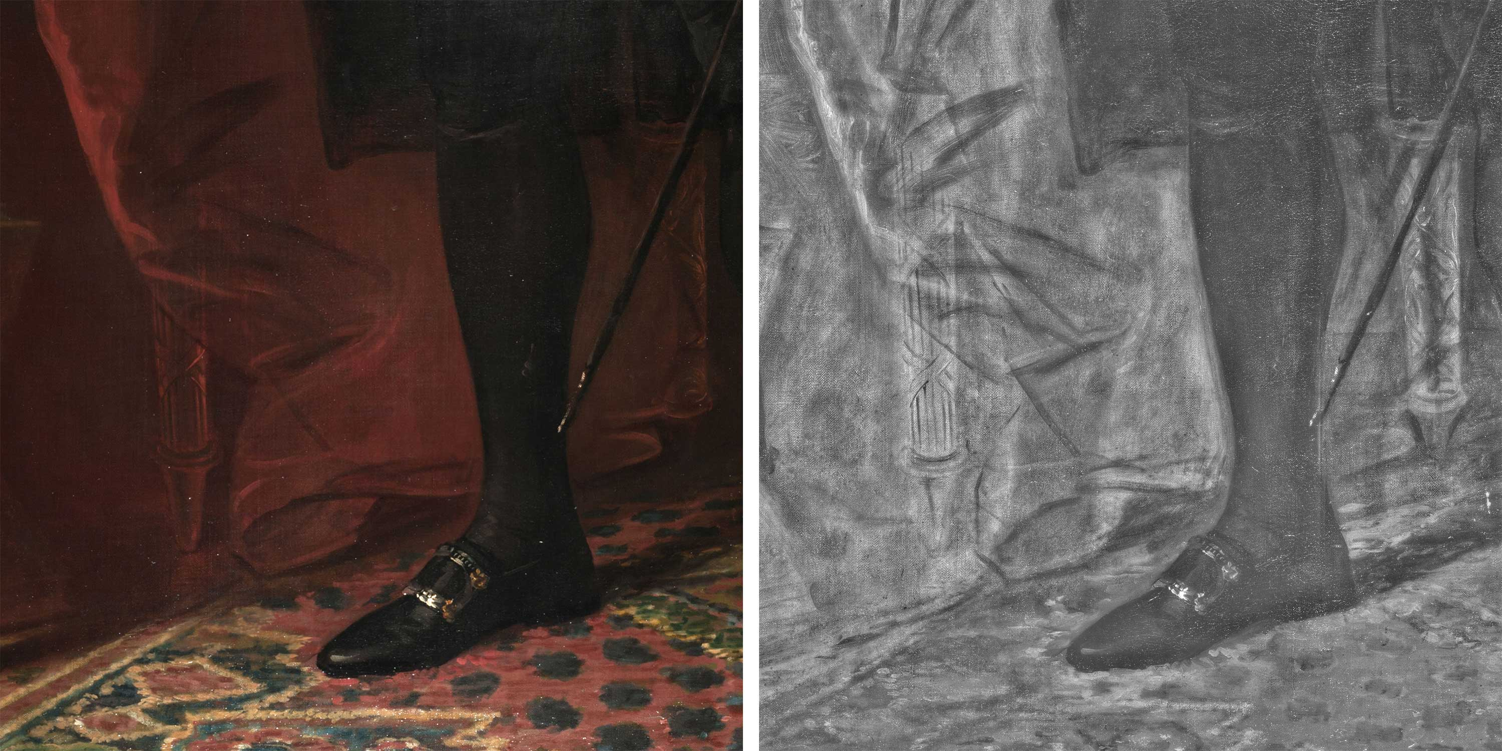 Two images of a man's painted foot