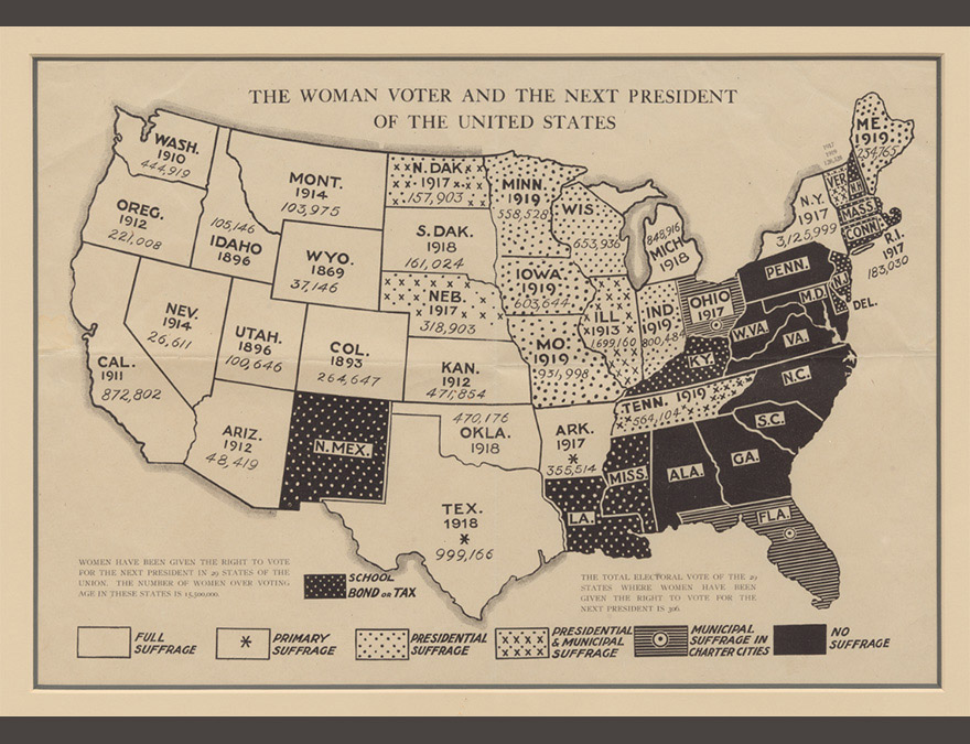 Map of the US with states allowing suffrage