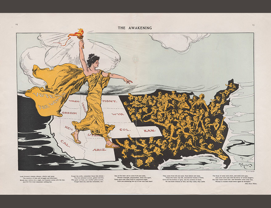 Allegorical image of a woman walking across a map of the US