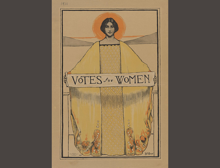 poster of a woman in robes with a halo