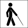 Person walking with a cane, icon